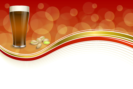 dark beer: Background abstract red gold drink glass dark beer pistachios frame illustration vector