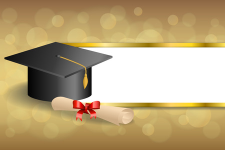 Abstract background beige education graduation cap diploma red bow gold stripes frame illustration vector Ilustração