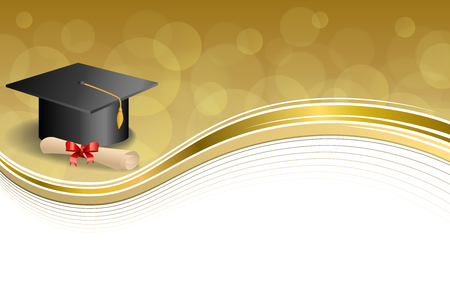 university graduation: Background abstract beige education graduation cap diploma red bow gold frame illustration vector Illustration