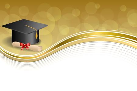 diploma: Resumen de antecedentes de graduaci�n de Educaci�n amarillento casquillo diploma lazo rojo ilustraci�n marco de oro de vectores