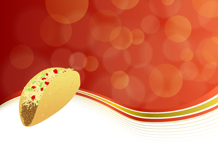 mexican restaurant: Abstract background food taco red yellow wave frame illustration  Illustration