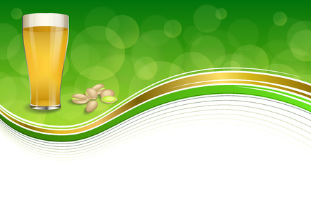 pistachios: Background abstract green gold drink glass beer pistachios frame illustration vector