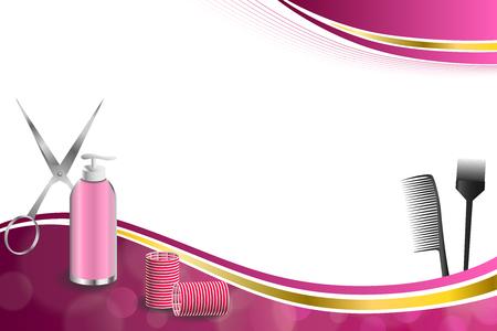 Fond abstrait rose outils de coiffure de coiffure rouge ciseaux curleur brosse or cadre de ruban d'illustrations