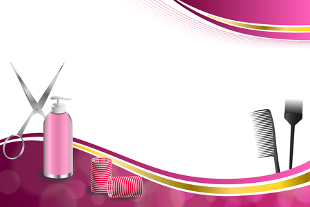 curler: Background abstract pink hairdressing barber tools red curler scissors brush gold ribbon frame illustration