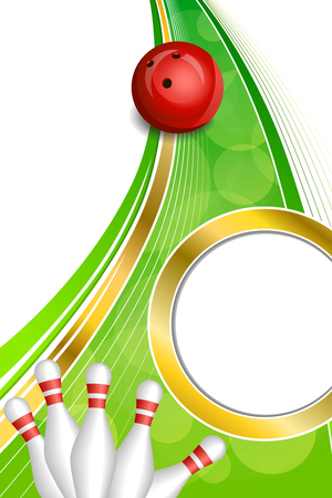 bowling alley: Background abstract green bowling red ball gold vertical frame illustration