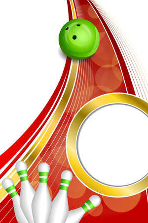 Background abstract red bowling green ball gold vertical frame illustration