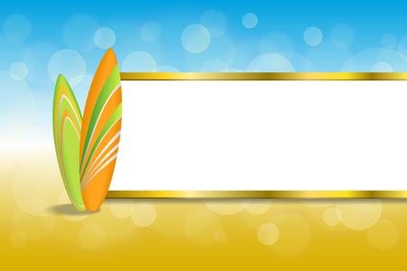 gold coast: Background abstract sea coast holidays design orange green surfboards beach blue yellow stripes gold frame illustration