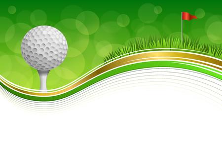 背景抽象ゴルフ スポーツ緑の草赤旗ボール フレーム ホワイトゴールドします。