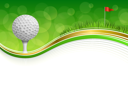 Background abstract golf sport green grass red flag white ball frame gold