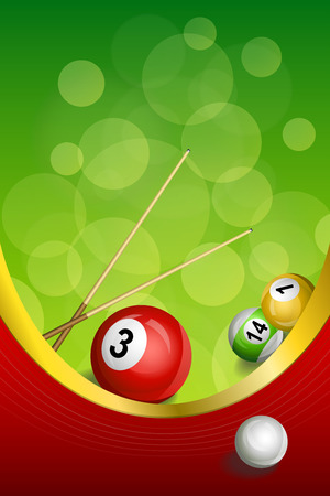 Background abstract green billiards pool cue red ball frame vertical gold ribbon illustration Illustration