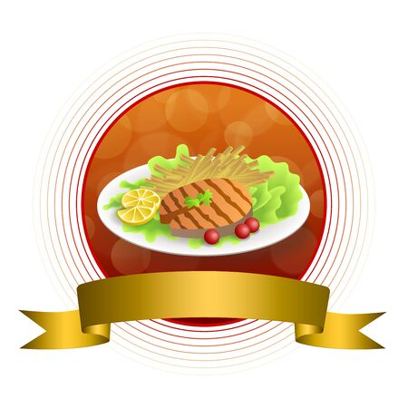 grilled salmon: Abstract background food grilled salmon fish tomato French fries lemon yellow salad green red circle gold frame ribbon illustration