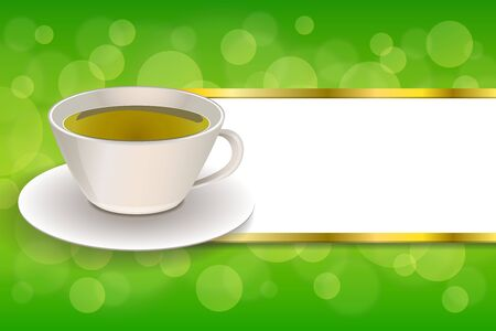 green tea cup: Background abstract drink green tea cup frame gold stripes illustration