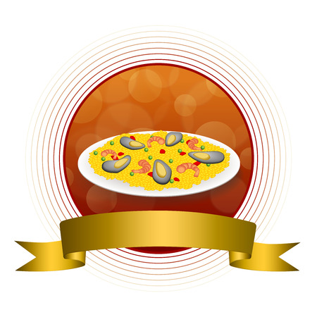 mussel: Abstract background food paella rice peas pepper shrimp mussel green red gold circle frame ribbon illustration