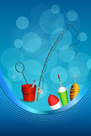 spoon yellow: Background abstract blue white fishing rod red bucket fish net float spoon yellow green frame vertical illustration