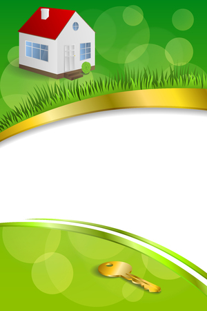 gold house: Background abstract green gold house key frame ribbon vertical illustration