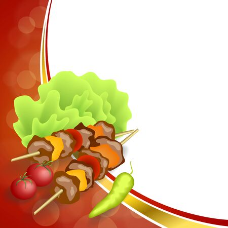 Abstract background grill food vegetable barbecue salad tomato pepper green red yellow frame illustration Illustration