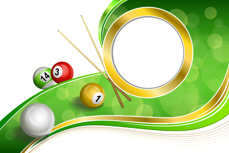 cue: Background abstract green billiards pool cue red white yellow ball gold circle frame illustration Illustration