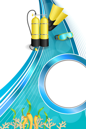 aqualung: Background abstract blue diving sport yellow aqualung flippers mask circle frame vertical illustration