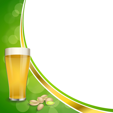 pistachios: Background abstract green gold drink glass beer pistachios frame illustration Illustration