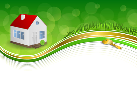 gold house: Background abstract green gold house key frame illustration ribbon