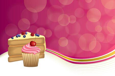 blueberry muffin: Abstract background pink yellow dessert cake blueberry raspberries cherry cupcake muffins cream frame illustration