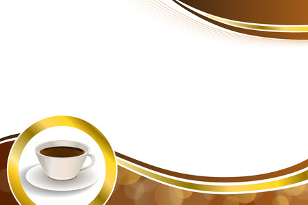 gold brown: Abstract background coffee cup brown gold circle ribbon frame illustration
