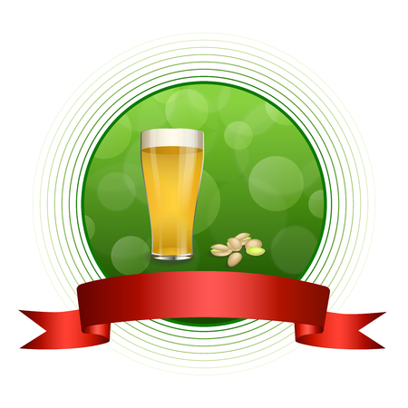 pistachios: Background abstract green drink glass beer pistachios red ribbon circle frame illustration