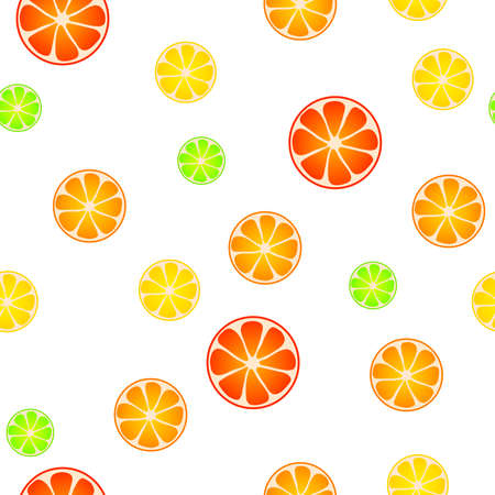 grapefruit: Abstract background pattern fruit lemon lime orange grapefruit yellow red green seamless illustration Illustration
