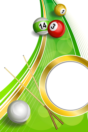cue: Background abstract green billiards pool cue red ball frame vertical gold circle ribbon illustration Illustration