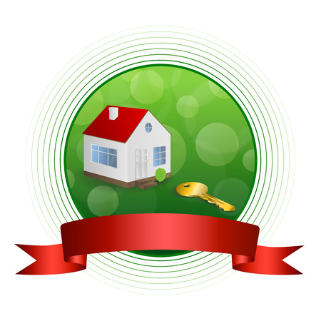gold house: Background abstract green gold house key red ribbon circle frame illustration  Illustration