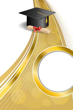 背景抽象ベージュ教育卒業キャップ ディプロマ赤弓垂直ゴールド リボン サークル フレーム イラスト