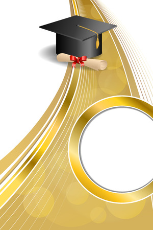 Background abstract beige education graduation cap diploma red bow vertical gold ribbon circle frame illustration  Vectores