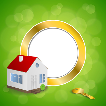 gold house: Abstract background green gold house key circle frame illustration