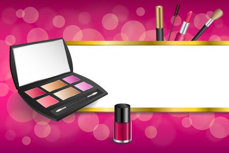 eye shadows: Background abstract pink cosmetics make up lipstick mascara eye shadows nail polish stripes gold frame illustration