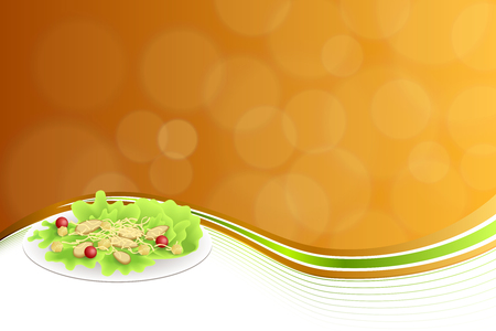 crackers: Abstract background food chicken Caesar salad tomato crackers cheese green red orange yellow frame illustration Illustration