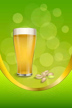 Background abstract green drink glass beer pistachios frame vertical gold ribbon illustration vector Иллюстрация