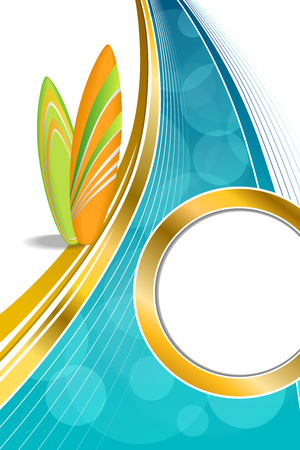 gold coast: Background abstract sea coast holidays design orange green surfboards beach blue yellow frame gold circle vertical illustration vector