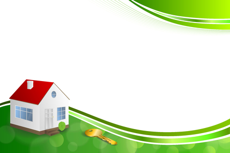 gold house: Background abstract green gold house key frame illustration ribbon vector Illustration