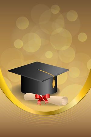 Background abstract beige education graduation cap diploma red bow frame vertical gold ribbon illustration vector