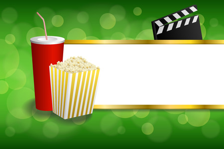 arts culture and entertainment: Background abstract green gold red drink popcorn movie clapper board stripes frame illustration vector