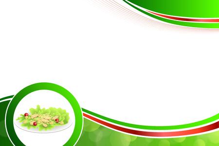 chicken caesar salad: Abstract background food chicken Caesar salad tomato crackers green red yellow illustration vector