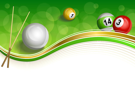 pool cue: Background abstract green billiards pool cue red white yellow ball gold frame illustration vector