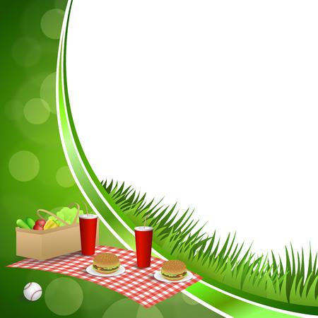 背景抽象的な緑の草ピクニック バスケット ハンバーガー ドリンク野菜野球ボール サークル フレーム イラスト ベクトル