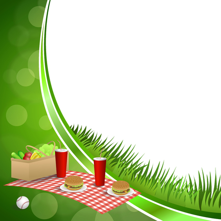 empty basket: Background abstract green grass picnic basket hamburger drink vegetables baseball ball circle frame illustration vector