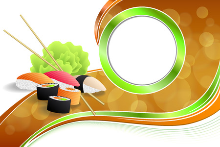 kitchen cooking: Abstract background food sushi green yellow orange ribbon frame illustration vector