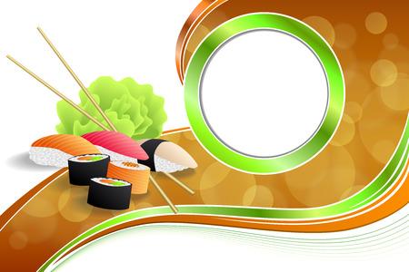 cocina caricatura: Resumen de fondo de alimentos sushi marco de la cinta naranja amarillo verde ilustraci�n vectorial Vectores
