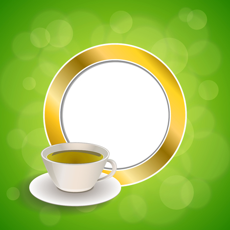 green tea cup: Abstract background drink green tea cup gold circle frame illustration vector