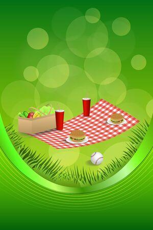 Background abstract picnic basket hamburger drink vegetables baseball ball frame ribbon vertical illustration vector