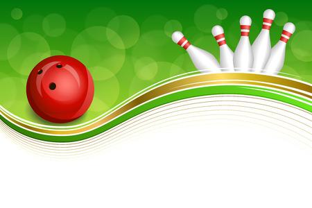 ボウリングの赤いボール ゴールド フレーム イラスト背景抽象緑