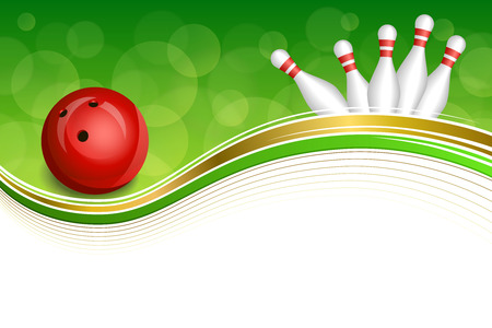 bowling: Background abstract green bowling red ball gold frame illustration vector